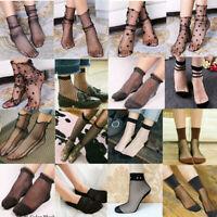 Women Fishnet Mesh Lace Ruffle Socks Sheer Silky Glitter Short Ankle Stocking