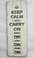 105cm Rustic Provincial Wooden Wall Sign Keep Calm and Carry On and On and On
