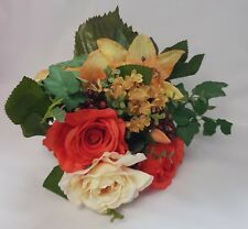ARTIFICIAL SILK FLOWERS MIXED BUNCH LILLIES ROSES HYDRANGEA ORANGE + TERRACOTA