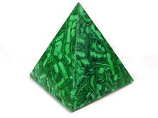 "BUTW Hand Carved Zaire Africa Malachite 6 1/2"" Pyramid Heal Lapidary 0138K ab"