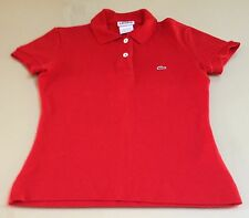 Lacoste Polo Shirt 34 Women's Girls Childs Short Sleeve Cotton Solid Red