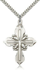 "24"" Chain - 30 Day Money Back . .925 Sterling Silver Cross Necklace For Men On"