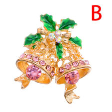 Christmas Tree Bell Flower Crystal Rhinestone Brooch Pin Xmas Party Jewelry Pop.