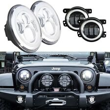 30W 4 Inch LED Fog Light Bulb + 7 Inch Headlight Halo for Jeep Wrangler JK LJ CJ