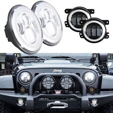 For 1997-2017 Jeep Wrangler JK LJ Tj CJ Halo LED Headlight +Fog Driving Lamps