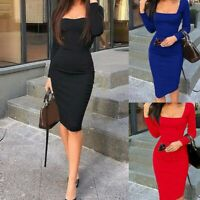 Womens Long Sleeve Bodycon Midi Dress Short Bandage Solid Cocktail Evening Party