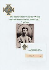 Charlie webb irlande int 1909-1911 extrêmement rare original hand signed cutting
