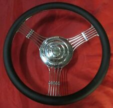 14'' BILLET 1/2 WRAP CUSTOM BANJO STEERING WHEEL &HORN BUTTON STREET/HOT ROD