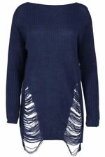 Vestiti da donna blu acrilici con girocollo