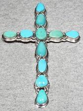 GIANT Vintage Signed Navajo 925 Silver Sleeping Beauty Turquoise Cross Pendant