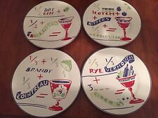 Set of 4 Rosanna Italy 8 inch salad party plates martini rob roy manhattan