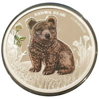 2013 TUVALU FOREST BABIES 50C CENTS 1/2 OZ PURE SILVER PROOF COIN - BROWN BEAR