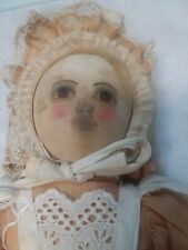 Antique Early Painted Face Babyland Rag Doll With Original Outfit – 15�