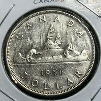 1951 CANADA SILVER CANOE DOLLAR CROWN