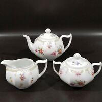 Z S & Co Porcelain Teapot, Sugar & Creamer, Bavaria, Germany, Vintage, Floral