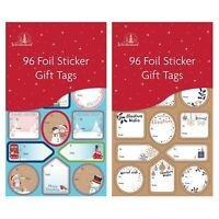 96 Silver/Red/Gold Labels Christmas Tag STICKER Gift Tags Name Xmas Present