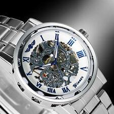 Winner Military Mechanical Skeleton Mens Stainless Steel Band Sport Wrist Watch