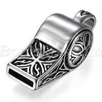 Vintage Punk Rock Whistle Pendant Stainless Steel Necklace Chain Men's Jewelry