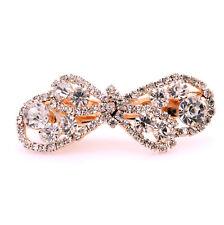 Bridal Gold Bow Knot White Rhinestones Hair Accessories Wedding Clip Pin HA132