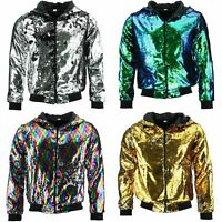 Sequin Hooded Bomber Jacket Firefly Shiny Glitter Sparkling Lame Sparkly