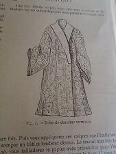 """PATRON ORIGINAL POUR LA POUPEE """" BLEUETTE """"ROBE DE CHAMBRE KIMONO N°33/34  1906"""