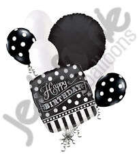 7 pc Black & White Polka Dot & Stripe Balloon Bouquet Decoration Happy Birthday