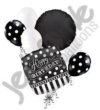 7 pc Black & White Polka Dot & Stripe Balloon Bouquet Decoration Happy Birthday