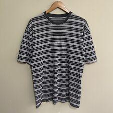 Striped Stripes T-Shirt Vintage Grey Mens Large