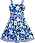 Girls Dress Sleeveless Flower Pattern Bow Tie Striped Trim Size 4-12