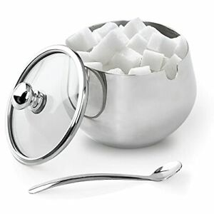 Sugar Bowl Stainless Steel Sugar Bowl with Clear Lid and Spoon for Home and