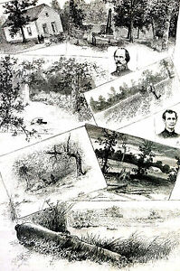 Battle Shiloh Tennessee JOHNSON WALLACE Hornets Nest 1887 Engraving Print Matted