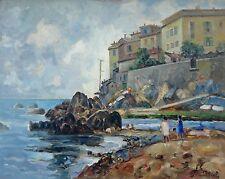 """Pittore Sirombo Giovanni (Milano 1885-1954)Marina di """"Quinto al Mare"""" Genova"""