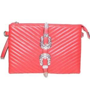 Pochette small bags donna rossa moda doppia fibbia in ecopelle trapuntato chiusu