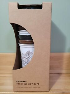 Starbucks The First Store Pike Place Reusable Hot Cup Set of 6 with Lids