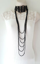 "Gorgeous 42"" long BLACK bead layered choker collar style statement necklace"