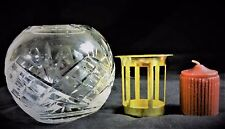 """New Clear Glass Globe Candle Holder with Gold Metal Basket & Red Candle 3.75""""T"""