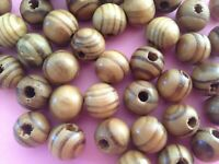 50Pcs 12MM brown wood leopard print round Charms spacer beads DIY Findings
