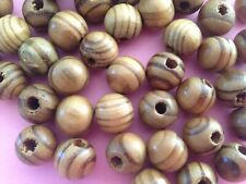 100 BURLY WOOD BEADS SPACERS CHARMS FINDINGS ROUND LEAD FREE12MM