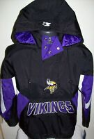 MINNESOTA VIKINGS Starter Hooded Half Zip Pullover Jacket S M L XL 2X BLACK