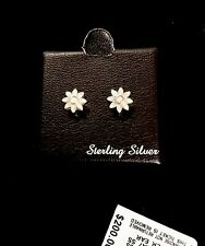 DIAMOND Flower STUD Earrings In 925 STERLING SILVER BEAUTIFUL GIFT! BNWT/BOX!