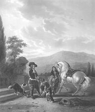 ARABIAN HORSE STALLION FOX HUNT HOUND DOGS Chase ~ Old 1857 Art Print Engraving