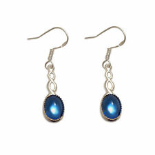 Blue Oval Costume Earrings