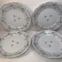 4 JOHANN HAVILAND DINNER  PLATES BLUE GARLAND BAVARIA GERMANY 10''