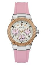 NIB Authentic GUESS Womens Silver-Tone Pink Strap Chronograph Watch U1094L4 $115