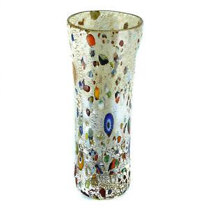Murano Glass Vase Gold Red Multi Hand Made Millefiori 18cm High