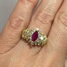 14k Yellow Gold 2+ Ct Ruby Diamond Marquise Halo Wedding Cocktail Estate Ring 7
