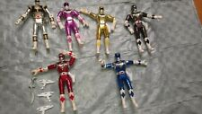 """Shiny Chrome"" style Power Rangers - Complete Lot of 6 - excellent condition"