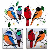 Multicolor Birds on a Wire High-Stained Glass Suncatcher Window Panel Decor Home