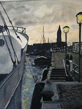 Sonnenuntergang Kiel Hafen Art design Gemälde 60er Jahre mid century 60s