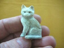 CAT-2) white sitting Kitty Cat kitten shed ANTLER figurine Bali detailed carving